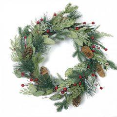 χριστουγεννιατικο στεφανι με γκι και κουκουναρια